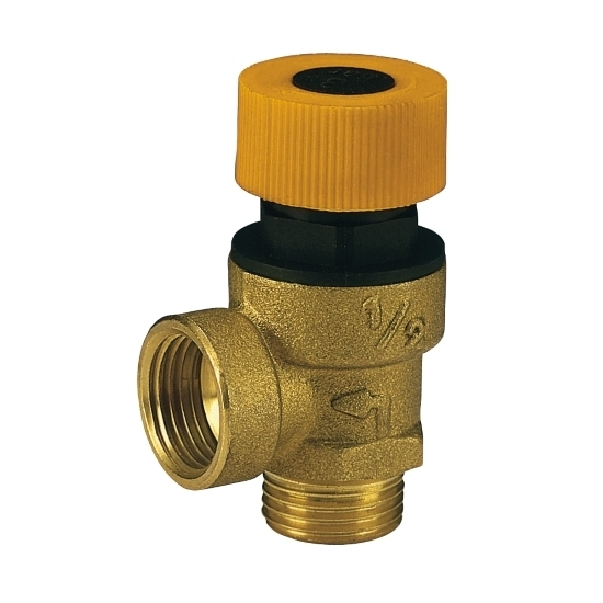 Safety valve for solar systems,male connection