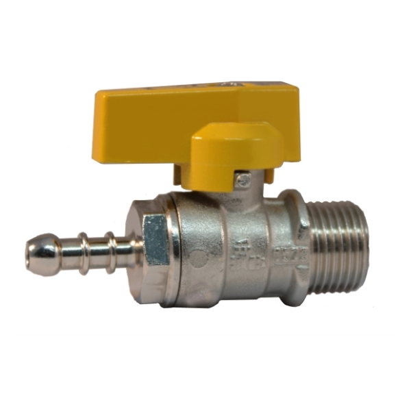 Male connection liquid gas ball valve with hose attachment