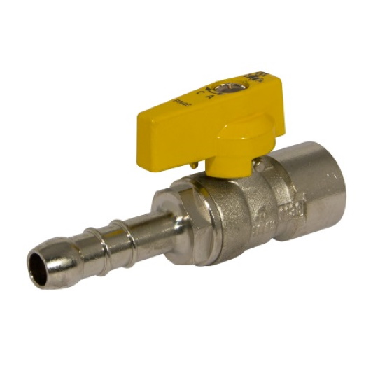 Female gas ball valve with hose attachment UNI 7141 standard