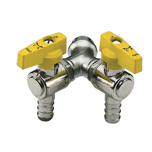 Double angle liquid gas ball valve male connection with hose attachment