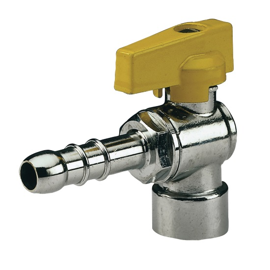 Female connection angle gas ball valve with hose attachment UNI 7141 standard