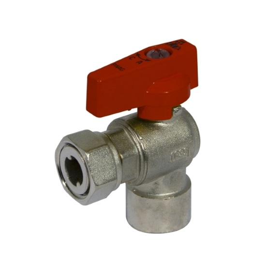 Angle ball valve with female connection and sliding nut