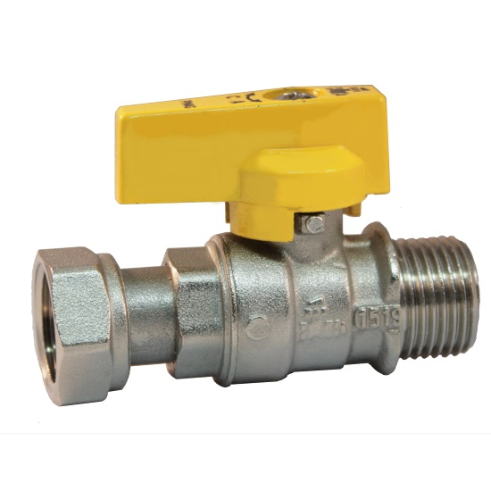 Ball valve with male connection and female sliding nut