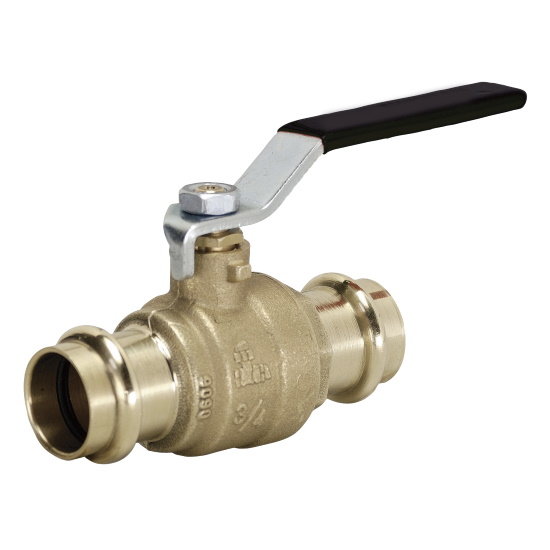 DZR Brass ball valve with press-fi t ends, iron lever handle