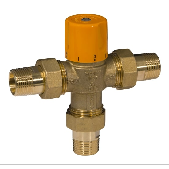 3 ways solar thermostatic mixing valve, with male pipe union
