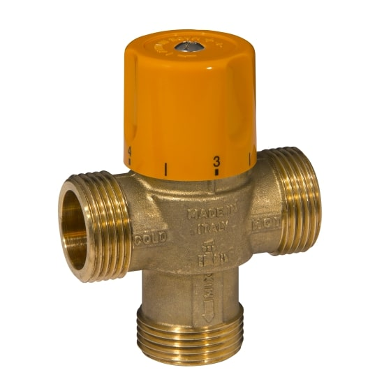3 ways solar thermostatic mixing valve, male connection