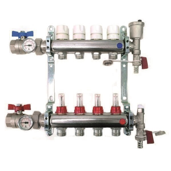 "FF stainless steel AISI 304L manifolds with 3/4"" male Euroconus outlets, with thermostatic screw and fl ow meters. Ball valves with thermometer included"