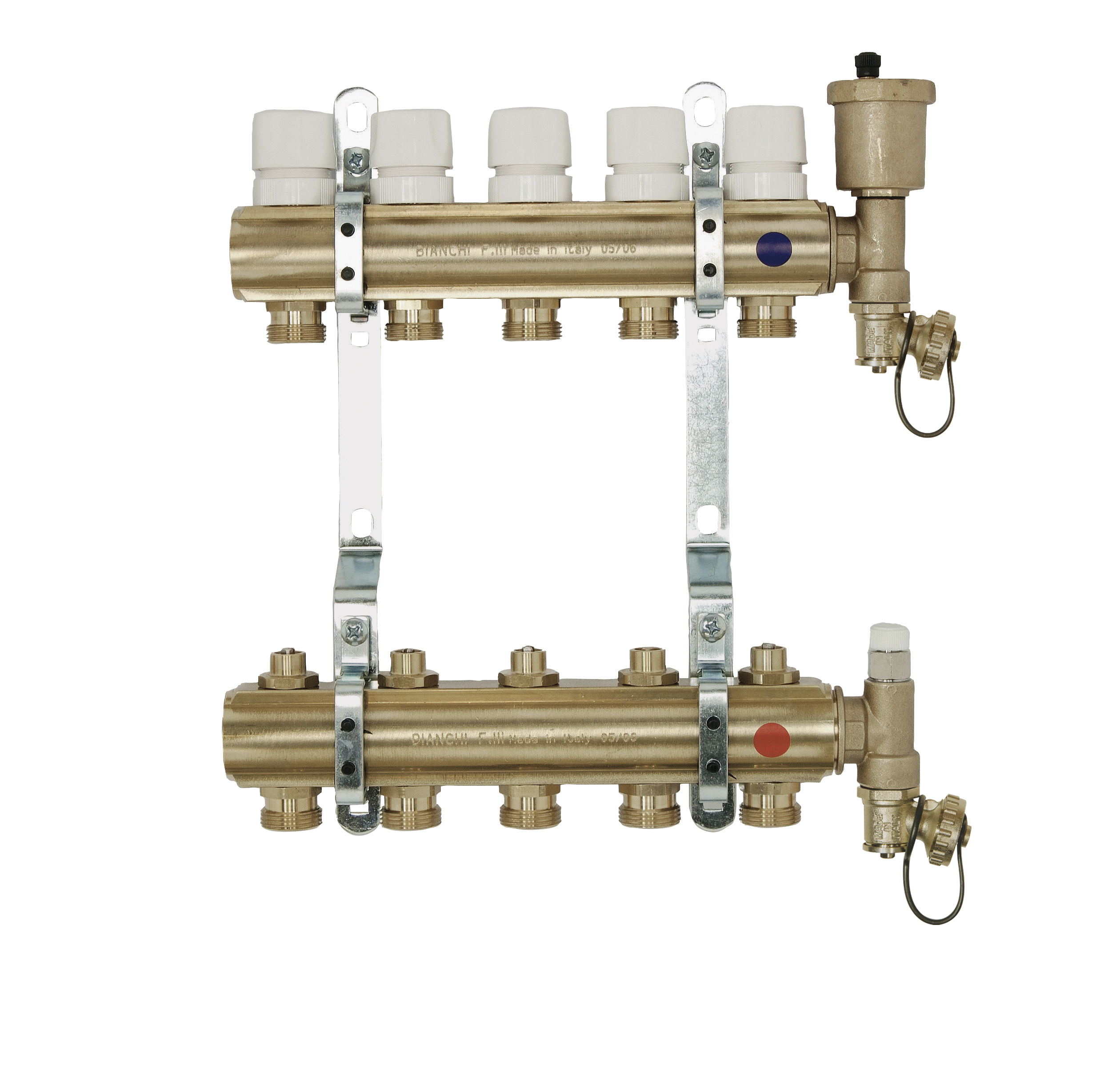 Brass manifolds therm. valves and lockshield and discharge
