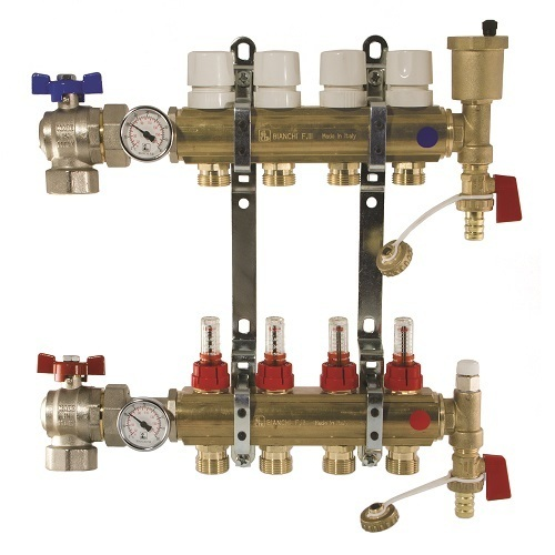 "FF brass bar manifolds with 3/4"" male Euroconus outlets, with thermostatic screw and fl ow meters."