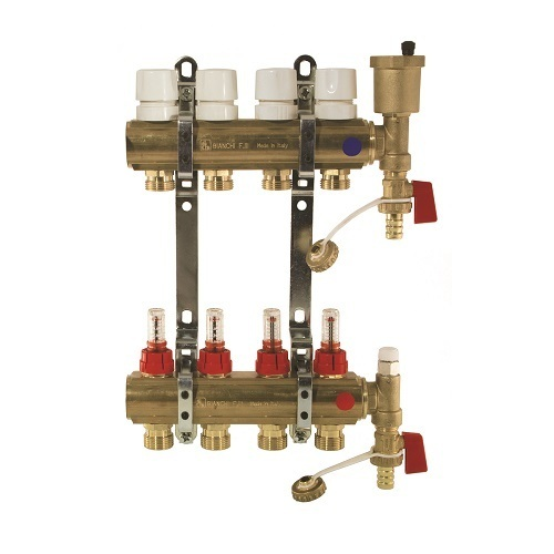 Brass manifolds therm. valves and flowmeters and discharge